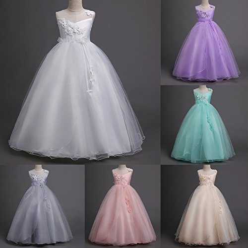 Princess Flower Long Girls Pageant Tutu Dresses Kids Prom Puffy Tulle Dance Party Fall Wedding Bridesmaid Ball Gown -  IBTOM CASTLE
