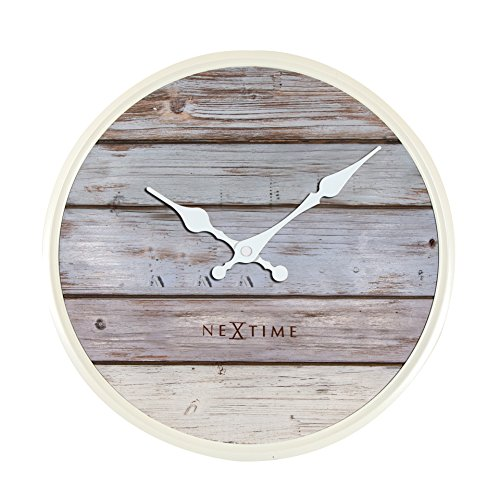 Unek Goods Nextime Plank Wall Clock, Medium Round, Wooden Grey Wash Face, Ivory Frame & Hands, Battery Operated