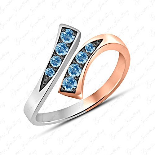 - Gemstar Jewellery Brilliant Cut Aquamarine 14k Two Tone Gold Over Adjustable Bypass Ring In 925 Silver