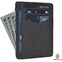 Front Pocket Slim Wallets for Men with RFID - Genuine Leather Handmade Minimalist Credit Card Holder Gift Box By Estalon