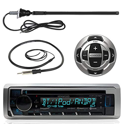 Wired Remote Control Unit - Kenwood MP3/USB/AUX Marine Boat Yacht Stereo Receiver CD Player Bundle Combo w/KCARC35MR Wired Remote Control, Enrock Water Resistant 22 Radio Antenna, Outdoor Rubber Mast 45 Antenna