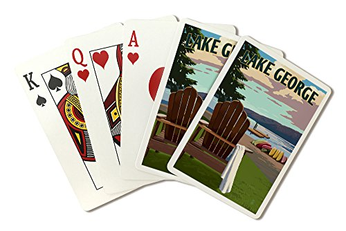 Lake George, New York - Lake and Adirondack Chair - Simply Said (Playing Card Deck - 52 Card Poker Size with Jokers) by Lantern Press