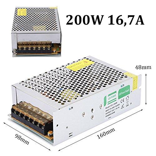 Rosbane(TM) Power Supply AC 170-260V to DC 12V 200W LED Driver Lighting Transformer Adapter Regulated Indoor for LED Strip LD511 by Rosbane