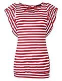 Hersife Stripped Shirt Women Loose Casual Short Sleeve Top T-Shirt Blouse Red M