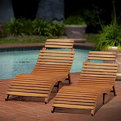 Christopher Knight Home 296060 Lahaina Wood Outdoor Chaise Lounge (Set of 2), Natural Yellow -  - patio-furniture, patio-chairs, patio - 51JhMAWAF%2BL. SS400  -