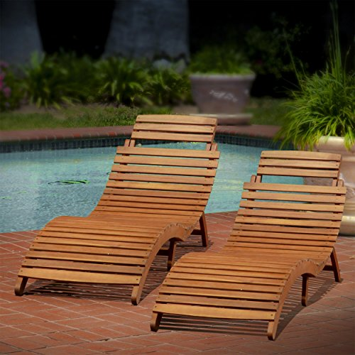 Christopher Knight Home 296060 Lahaina Wood Outdoor Chaise Lounge (Set of 2), Natural ()