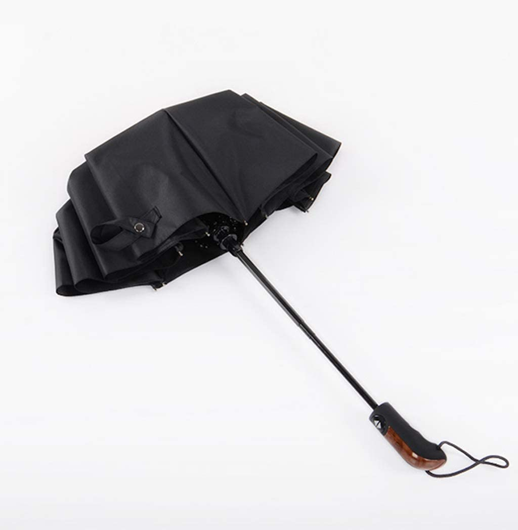 QXX-umbrella Folding 10 Bone Reinforcement Windproof Business Sunny Day Rain Dual Use Automatic Black 41.7x24.8in