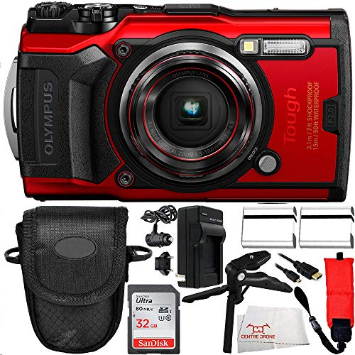 Olympus TG-6 Digital Camera (Red #V104210RU000) 10PC Accessory Bundle: Includes – 2x Seller Replacement Battery + SanDisk Ultra 32GB Class 10 SDHC UHS-I Memory Card + Floating Strap + Pistol Grip Tabl