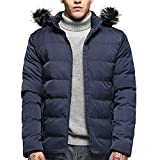 FANOUD Mens Jackets Hoodie Pure Color Zipper Thickened Cotton Padded Jacket