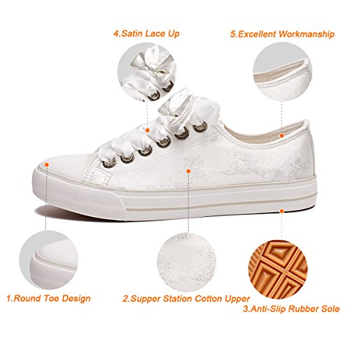 Pictures of ZGR Womens Fashion Canvas Sneaker Low Cut White4 8 M US 6