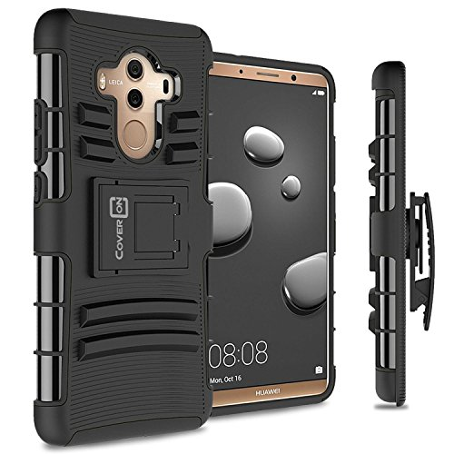 Huawei Mate 10 Pro Holster Case, CoverON Explorer Series Protective Hybrid Phone Cover with Adjustable Belt Clip Holster for Huawei Mate 10 Pro - Black
