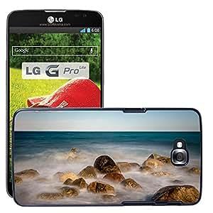 Etui Housse Coque de Protection Cover Rigide pour // M00421619 Piedras del mar Vientos Costa de Pebble // LG G Pro Lite D680