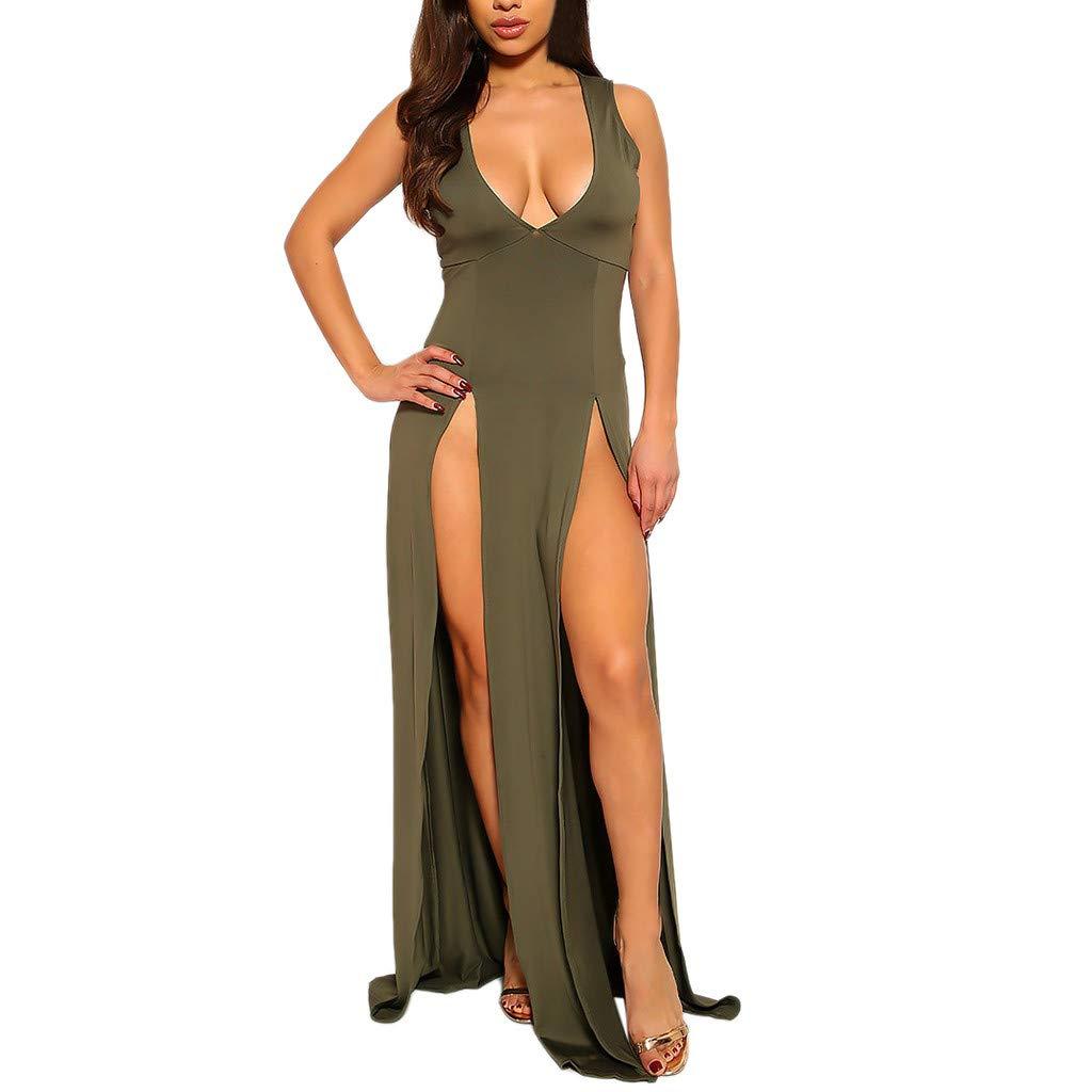 Women Sexy Split Maxi Dress Club Outfits Dress Chiffon Strap Deep V Neck Bra Crop Top High Split Long Dresses Skirt Set Green by Giulot