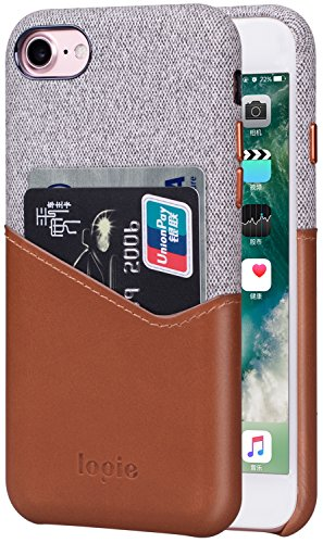 Lopie [Sea Island Cotton Series] Slim Card Case Compatible for iPhone 7 and iPhone 8, Fabric Protection Cover with Leather Card Holder Slot Design, Light Brown