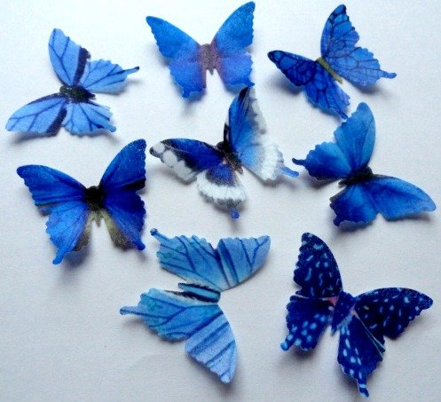 Assorted Blue Wafer Paper Butterflies 1.75 Inch for Decorating Desserts Pack of 48