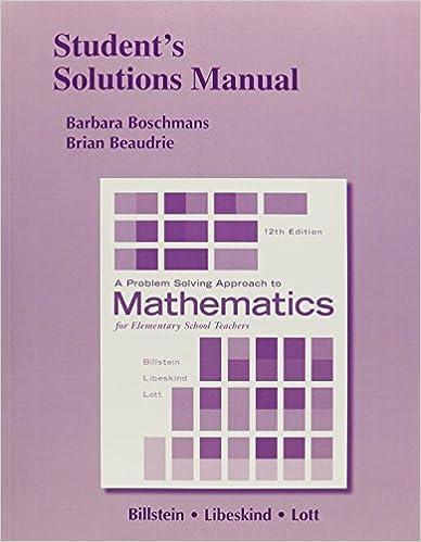 billstein a problem solving approach to math for elementary school teachers