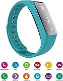 GPCT Smart Bluetooth 4.0 Fitness Activity Sport Tracker Wrist Band Heart Rate Sensor OLED Screen Pedometer/Remote Shoot/Push Notification/Call/Alarm/Calorie Counter/Sleep Monitor- Android/iOS- Aqua