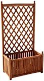 DMC Products 70514 28-Inch Lexington Rectangle Solid Wood Trellis Planter, Teak Oil