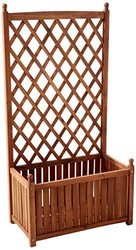 DMC Products 70514 28-Inch Lexington Rectangle Solid Wood Trellis Planter, Teak - Planter Garden Teak