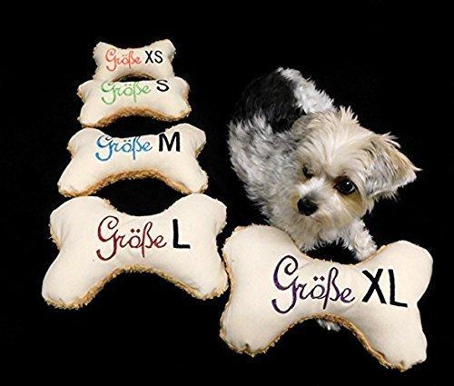 LunaChild Osso cane giocattolo cane Quitscher crema bianco taglia XS S M L o XL Cuscino personalizzato per nome cane
