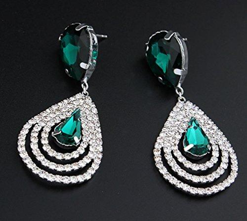 Superhai Bridal Jewelry Beautiful Crystal Diamond Drop Earrings Dazzle Green (Gold Amethyst Threader Earrings)