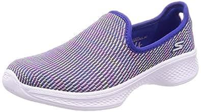 Skechers Go Walk 4-Select, Zapatillas sin Cordones para Niñas, Azul (Blue/Multicoloured), 32 EU
