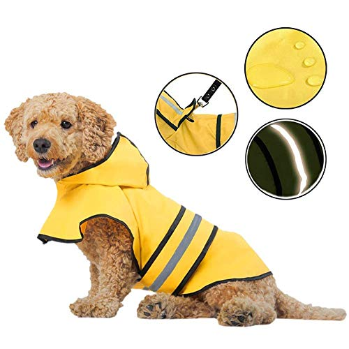 Coppthinktu Dog Raincoat Adjustable Pet Water Proof Clothes Lightweight Rain Jacket Poncho Hoodies with Strip Reflective