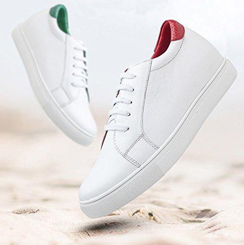 CHAMARIPA Aufzug Schuhe Mens Breathable Leder Turnschuhe Skate Schuhe weiß grün - 2,36 Zoll größer - H72C55K123D Weiß mit Rot
