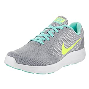 NIKE Women's Revolution 3 Running Shoe, Wolf Grey/Volt/Hyper Turquoise/White, 9 B(M) US