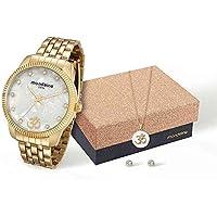 4d8cd417df8 Kit Relógio Mondaine Feminino Analógico Dourado 76579LPMKDE3K1 com Colar ...