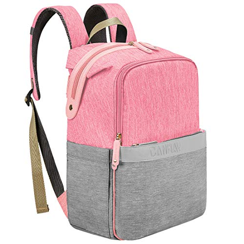 Diaper Bag Backpack, Canway Unisex Baby Bag Travel MaternityNappy Bag Large Capacity with Insulated Pockets, Diaper Bag Backpack Multi-Function Waterproof and Durable for Mom & Dad (Pink) from Canway