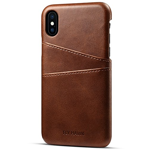 Slim Wallet Case Compatible iPhone Xs Max, Thin PU Leather Back Case Cover Credit Card Holder Purse Business Card Slots for Apple iPhone 10s Max, 6.5 inches Brown