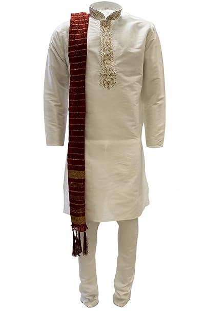 MKP3201 de Marfil y los hombres rojos del kurta pijama Indian Suit Bollywood Sherwani Chest 40