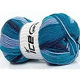 Lot of 4 x 100gr Skeins ICE YARNS Design Wool Light Turquoise Navy Light Blue