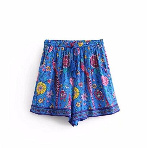 FuweiEncore Femme Shorts Imprim Floral Taille Elastique Mini Pantalons Dcontract Grande Taille pour Et Bleu
