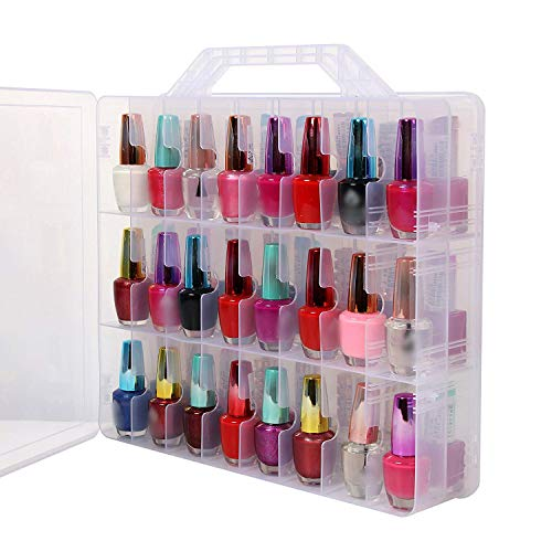CN-Culture Portable Universal Clear Double Side Nail Polish Organizer Storage, Holder for 48 Bottles Nail Polish, Space Saver with 8 Adjustable Dividers (Best Portable E Nail)