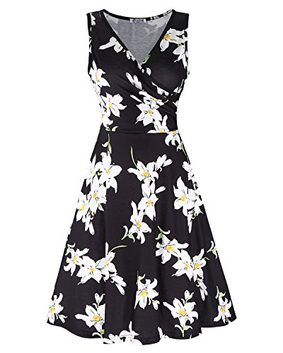 KILIG Women's Floral Print Dress,Casual Sleeveless V Neck A Line Elegant Dresses with Pockets(C004,L)