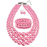 KOSMOS-LI Women's 3 Layer Simulated Pink Pearl Statement 18'' Necklace Bracelet and Earrings Jewelry Set