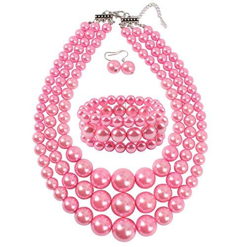 KOSMOS-LI Women's 3 Layer Simulated Pink Pearl Statement 18