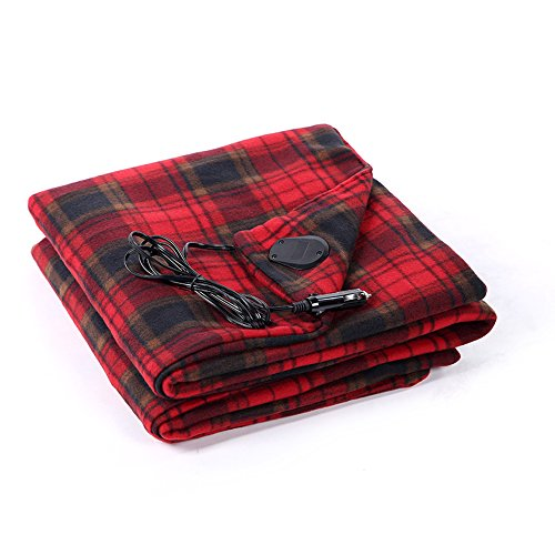 BARCOCASE Super Soft Warm Heated Polar Fleece Plaid Travel Blanket for Car Travel with 12 Volt power adapter, Black/White