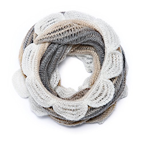 Ladies Mohair Knit Scarf (SherryDC Women's Multicolor Striped Loose Knit Ruffle Edge Lightweight Infinity Scarf)
