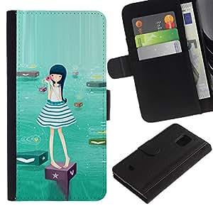 Paccase / Billetera de Cuero Caso del tirón Titular de la tarjeta Carcasa Funda para - Cute Water Girl - Samsung Galaxy S5 Mini, SM-G800, NOT S5 REGULAR!