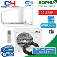 COOPER AND HUNTER Ductless Mini Split Heat pump up to 22.8 SEER with Free copper 15ft (12 BTU 230 V) Energy Star