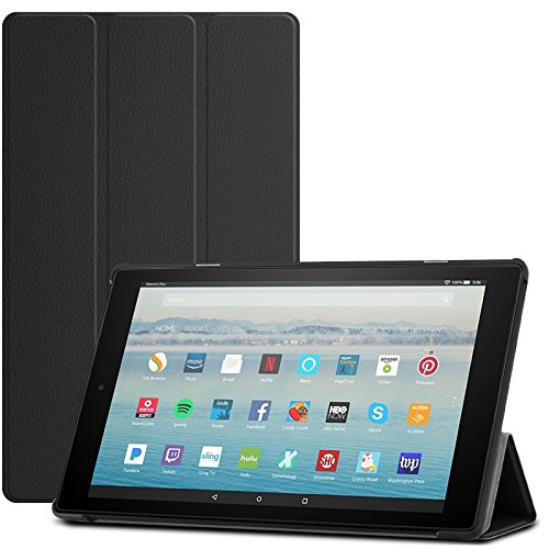 Infiland All-New Fire HD 10 2017 Case - Tri-Fold Ultra Slim Stand Smart Case Cover with Auto Sleep/Wake for All-New Amazon Fire HD 10 (7th Generation, 2017 Release), Black