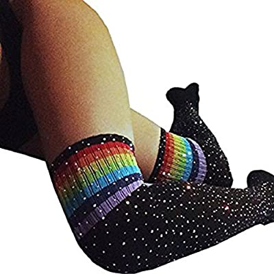 Women Winter Sexy Rhinestone Thigh High Socks Cable Knit Colorful Striped Stockings Girls Over Knee Leg Warmers (Black Rainbow Stripe) at Women's Clothing store