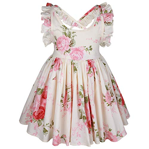 Somlatrecy Vintage Floral Ivory Cream Girls Dress Backless Straps Ties Easter Dress (8(7-8Years), Ivory Cream) -