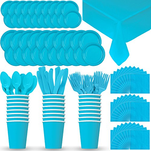 Disposable Paper Dinnerware for 24 - Aqua / Island Blue - 2 Size plates, Cups, Napkins , Cutlery (Spoons, Forks, Knives), and tablecovers - Full Party Supply Pack