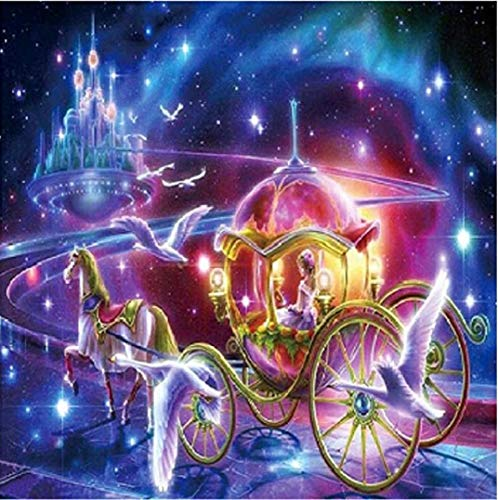 TOPOB DIY 5D Diamond Painting, Cinderella Pumpkin Carriage Pictures Home Decoration Gift Full Drill Arts Crafts (20X20)