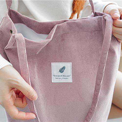 DGD Bolso de Hombro Casual de Mujer de Gran Capacidad para Mujer Bolso de Hombro de Pana Rosa