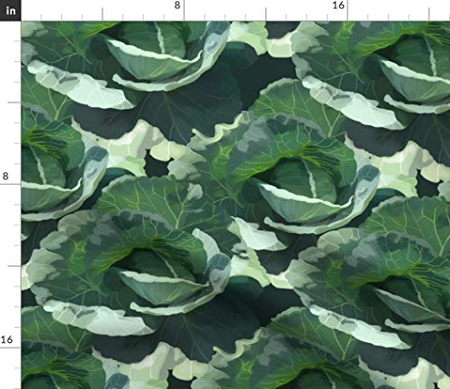 Spoonflower Cabbage Fabric - Garden Ruffled Vegetable Gardening Cabbage Head 13Sparrows Print on Fabric by The Yard - Basketweave Cotton Canvas for Upholstery Home Decor Bottomweight Apparel